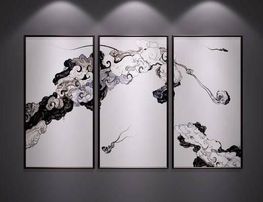 中式装饰挂画, 中式抽象画, 中式水墨画, 中式端景画, 新中式, 中式, 挂画, 装饰画