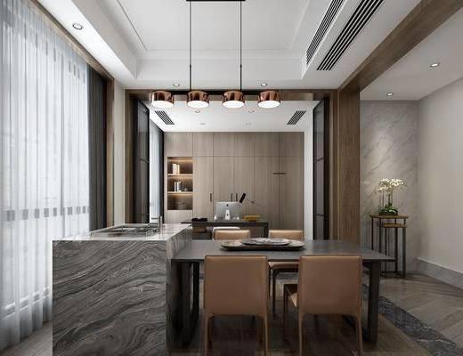 现代餐厅, 餐厅, 餐桌, 椅子, 吊灯, 洗手台, 书房, 书桌, 置物柜, 摆件