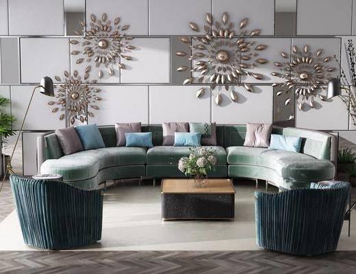 沙发组合, 多人沙发, 圆弧沙发, 茶几, 单人沙发, 落地灯, 墙饰, 盆栽, 绿植植物, 摆件, 装饰品, 陈设品, 现代