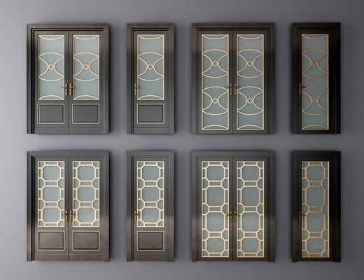 玻璃门, 推拉门, 平开门, 门组合, 新中式