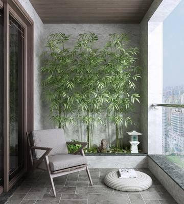 新中式, 阳台, 家装