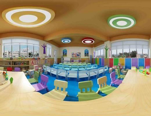 幼儿园, 儿童椅, 椅子, 桌子, 教室, 儿童教室