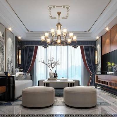 新中式, 客厅, 沙发, 茶几, 壁灯, 吊灯, 电视墙, 电视柜, 花瓶, 瓷器, 盆栽, 摆件, 植物, 装饰品, 陈设品, 装饰画