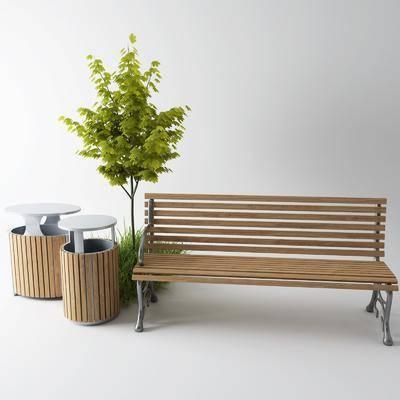 垃圾桶, 草丛, 户外椅