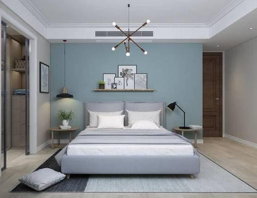 北欧, 现代, 卧室, 床, 吊灯, 床头柜, 台灯, 装饰画, 挂画