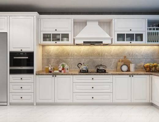 厨房, 橱柜, 厨具, 水果, 美式