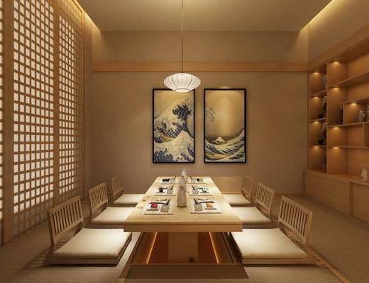 料理餐厅, 包间, 餐桌, 餐椅, 单人椅, 装饰画, 挂画, 吊灯, 装饰柜, 餐具, 摆件, 装饰品, 陈设品, 日式