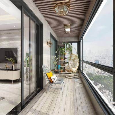 阳台, 露台, 单椅, 植物, 花盆