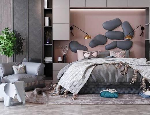 床, 卧室, 椅子, 装饰柜, 绿植, 玩具座凳