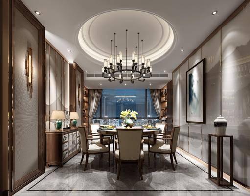 新中式餐厅, 新中式, 餐厅, 中式花架, 中式装饰柜, 中式餐桌椅, 吊灯