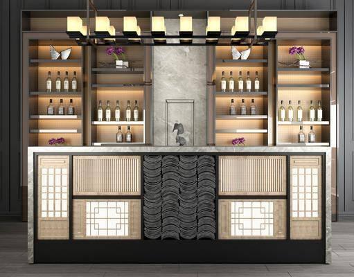 前台, 收银台, 接待台, 酒柜, 吊灯组合, 酒瓶, 吊灯, 新中式