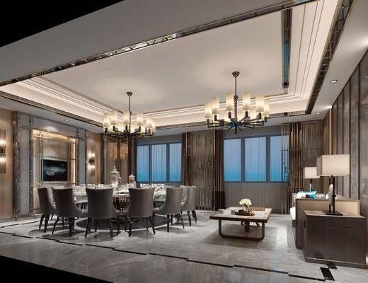 餐饮会所, 包厢, 餐桌, 餐椅, 餐具, 单人椅, 圆桌, 吊灯, 边几, 台灯, 多人沙发, 茶几, 壁灯, 摆件, 装饰品, 陈设品, 现代