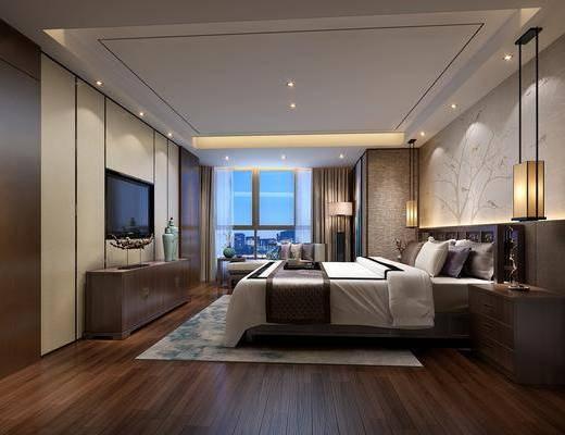 卧室, 双人床, ?#39184;?#26588;, 吊灯, 落地灯, 摆件, 装饰品, 陈设品, 台灯, 新中式