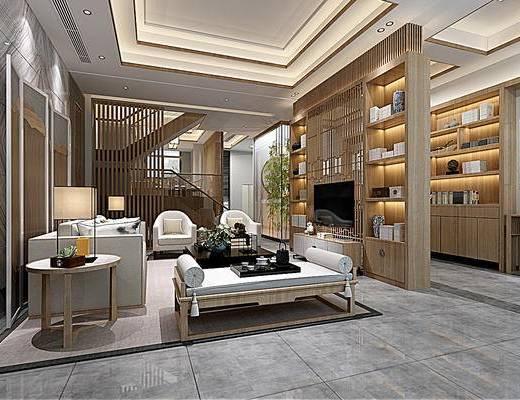 新中式客厅, 客厅, 茶几, 电视柜, 中式沙发, 书柜, 装饰柜, 屏风, 竹子