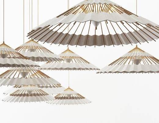新中式油纸伞吊灯, 中式吊灯, 大堂吊灯
