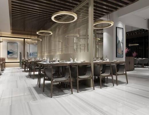 新中式, 餐廳, 桌椅組合, 吊燈, 置物柜, 餐具組合
