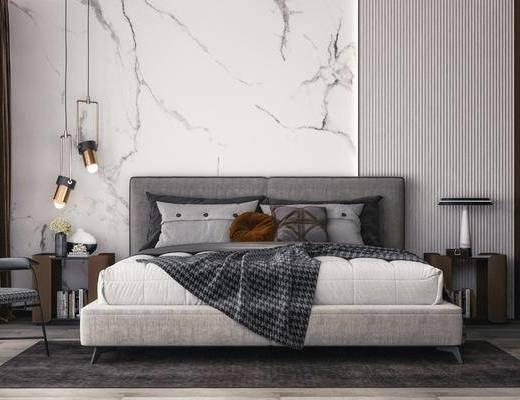 双人床, 床具组合, 吊灯, 衣柜, 床头柜