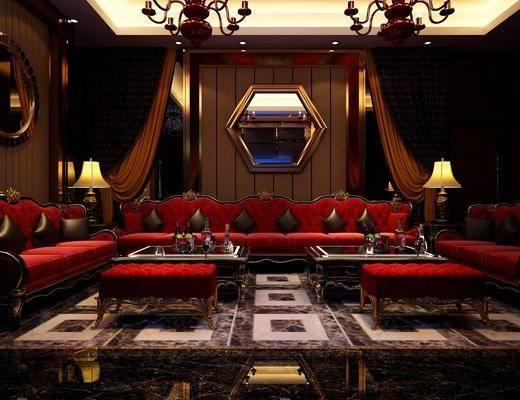 KTV包间, 会所, 多人沙发, 茶几, 边几, 台灯, 躺椅, 墙饰, 吊灯, 双人沙发, 壁灯, 装饰品, 陈设品, 简欧