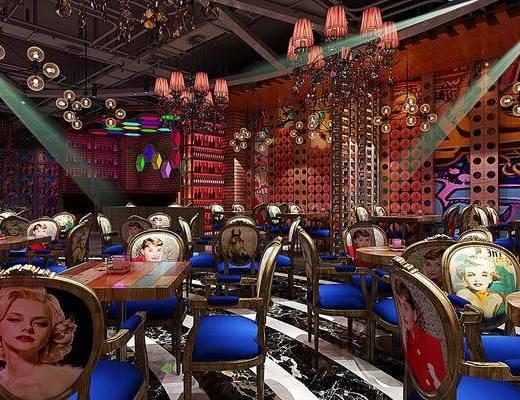 桌椅组合, 吊灯, 背景墙, 吧台, 酒柜