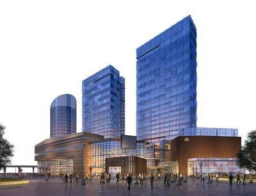 商业, 住宅, 现代, 网点, 底商, 玻璃幕建筑