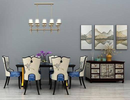 桌椅组合, 餐桌, 餐椅, 单人椅, 装饰画, 挂画, 吊灯, 边柜, 装饰柜, 新中式
