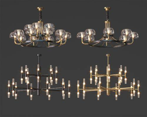 玻璃吊灯, 艺术吊灯, 多头吊灯, 灯具