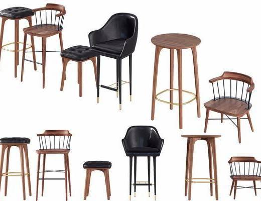 现代吧椅组合, 吧台椅, 单椅, 椅子