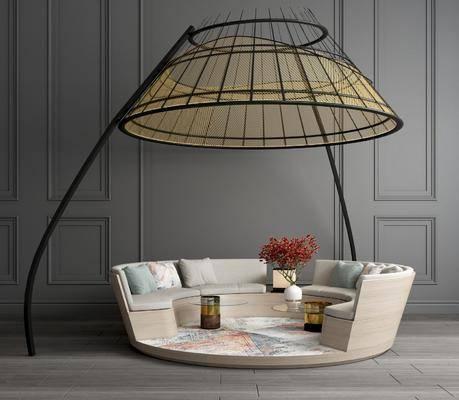 卡座休闲桌椅, 卡座沙发椅, 铁艺卡座沙发, 抱枕, 花瓶