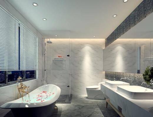 卫浴, 卫生间, 现代卫生间, 浴缸, 淋浴间, 洗手台, 花瓶, 花卉, 现代