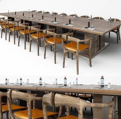 现代, 新中式, 会议桌, 办公椅, 椅子, 单椅, 休闲椅