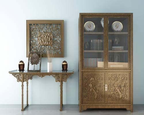 新中式玄关柜, 书柜, 摆件