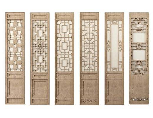新中式花格屏风门, 隔断组合
