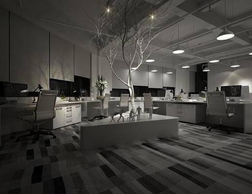 现代, 办公室, 办公椅, 办公桌, 树干