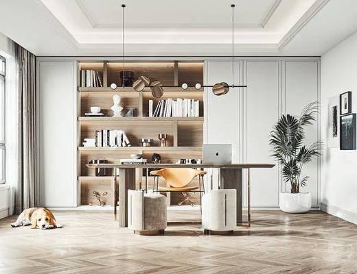 书桌, 桌椅组合, 吊灯, 植物, 书柜, 书籍