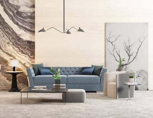 茶几, 圆几, 吊灯, 北欧, 沙发, 装饰画, 绿色植物, 石柱, 干支, 装饰品, 摆件