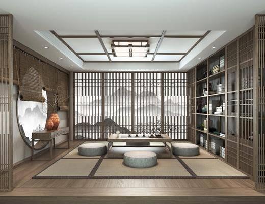 日式, 书房, 榻榻米, 3D模型, 家具