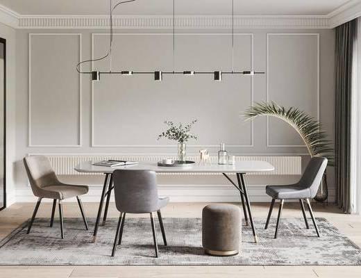 北欧餐厅, 北欧餐桌, 餐椅, 吊灯, 地毯, 摆件