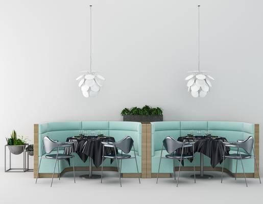 沙发, 单椅, 吊灯, 卡座, 餐桌, 餐具, 现代