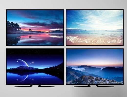 现代液晶电视3d模型, 电视, 家用电器