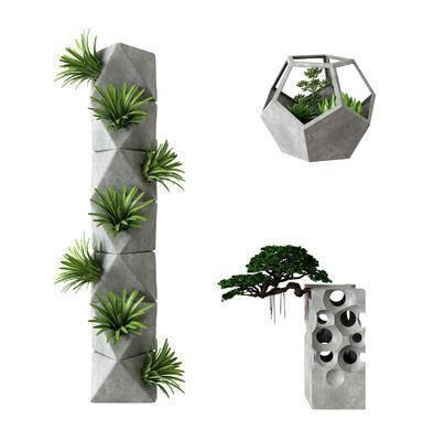 水泥, 盆栽植物, 现代