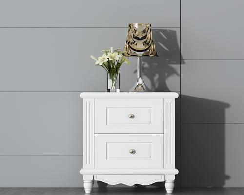 床头柜, 柜台, 木柜, 简欧, 台灯, 花瓶