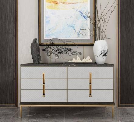 装饰柜架, 柜架组合, 摆件组合, 花瓶, 装饰画