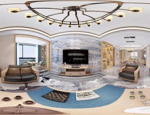 沙发组合, 吊灯, 背景墙, 电视柜, 单椅, 茶几