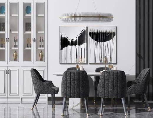 吊燈, 裝飾掛畫, 酒柜, 餐桌, 桌椅組合