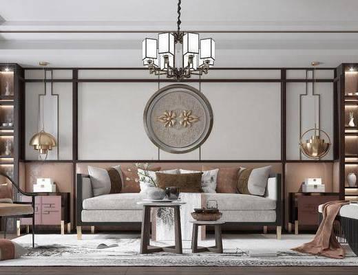客厅, 沙发组合, 吊灯, 茶几组合, 边柜, 墙饰, 单椅, 置物架