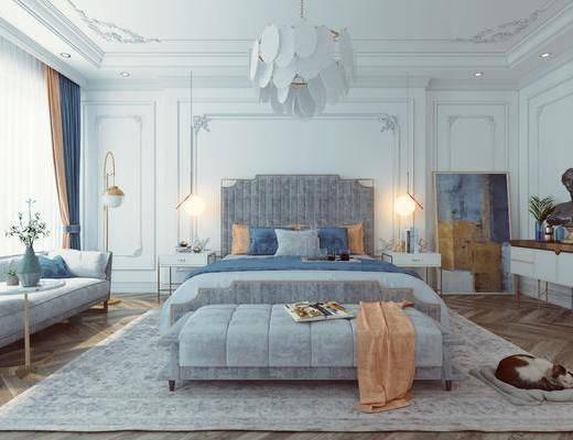 法式卧室, 卧室, 轻奢卧室, 双人床