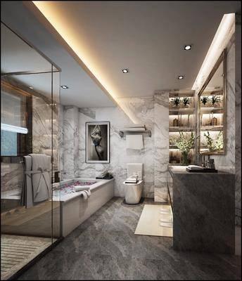 卫生间, 洗手台, 浴缸, 装饰画, 马桶, 人物画, 花瓶花卉, 现代