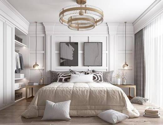 轻奢吊灯, 衣柜, 边几, 摆件, 衣服, 美式卧室, 美式床具