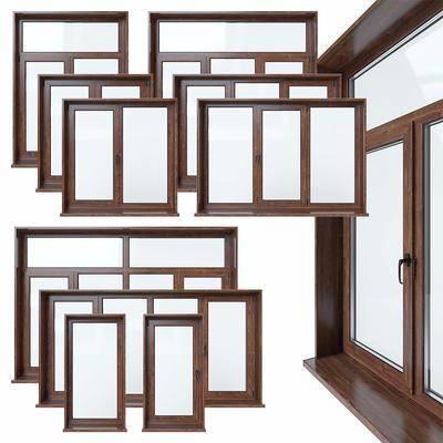 现代, 木质窗户, 窗户, 平开窗