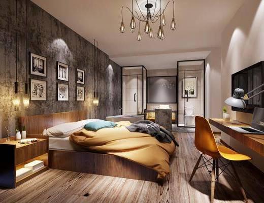 酒店客房, 现代酒店客房, 现代, 床具组合, 单椅, 吊灯, 挂画, 工业风